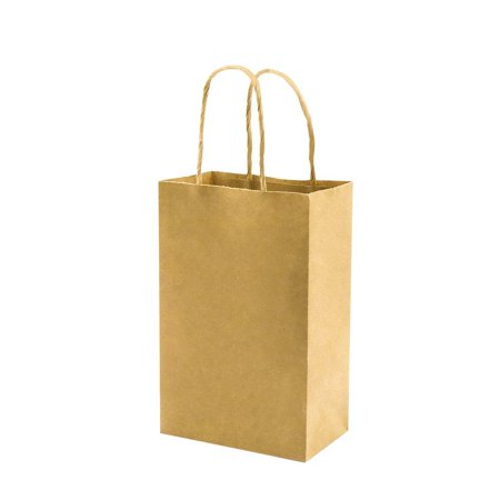 Thick Paper Bags with Handles Bulk, Bagmad Small Size Brown Kraft Bags 5.25x3.25x8 inch 100 Pcs Pack, Gift Bags, Party, Grocery Retail Shopping Bags, Wedding, Craft Bags, Cub](Paper Gift Bags Bulk)