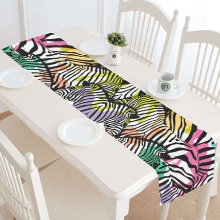 MYPOP Colorful Zebra Cotton Linen Table Runner 16x72 Inches