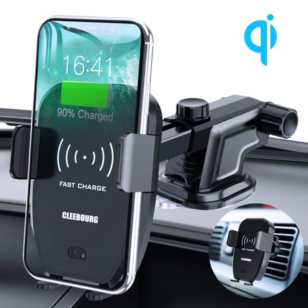 Qi Wireless Car Charger Mount,10W Fast Charging Car Phone Holder Air Vent Dashboard Compatible with iPhone Xs/Xs Max/XR/X/ 8/8 Plus, Samsung Galaxy S10 /S10+/S9 /S9+/S8