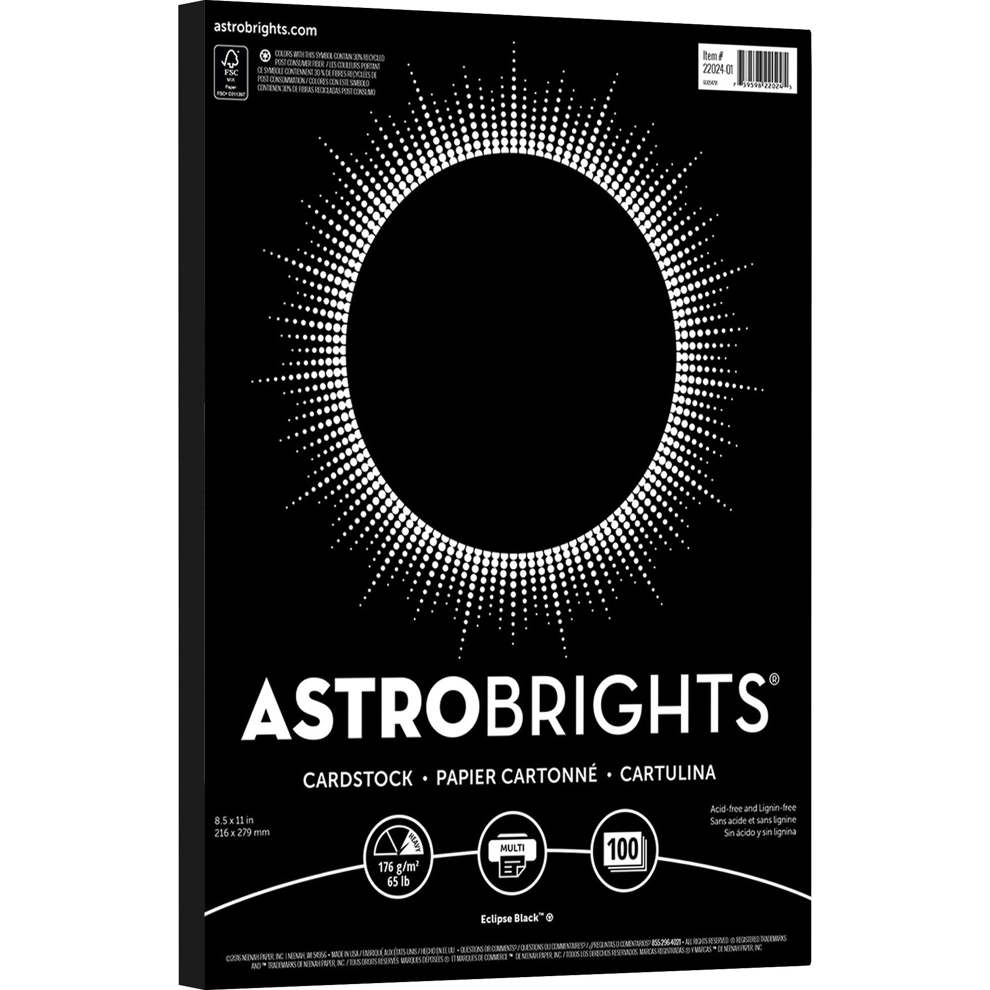 Astrobrights, WAU22024, Colored Cardstock, 100 / Pack, Eclipse Black