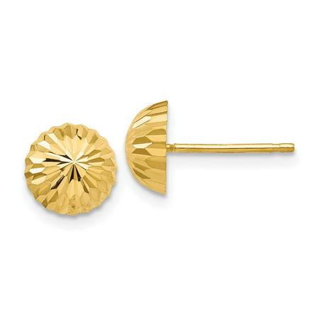 14k Yellow Gold Diamond-cut 8mm Domed Post Stud Earrings for Women