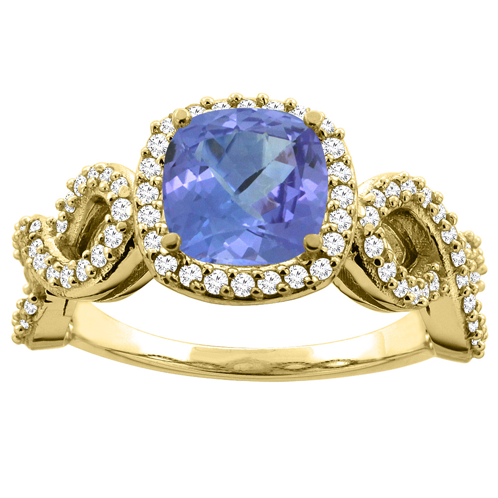14K Yellow Gold Natural Tanzanite Engagement Ring Cushion 7mm Eternity Diamond Accents, size 5 by Gabriella Gold