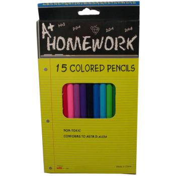 Colored Pencils - 15 pack- assorted colors Case Pack 48