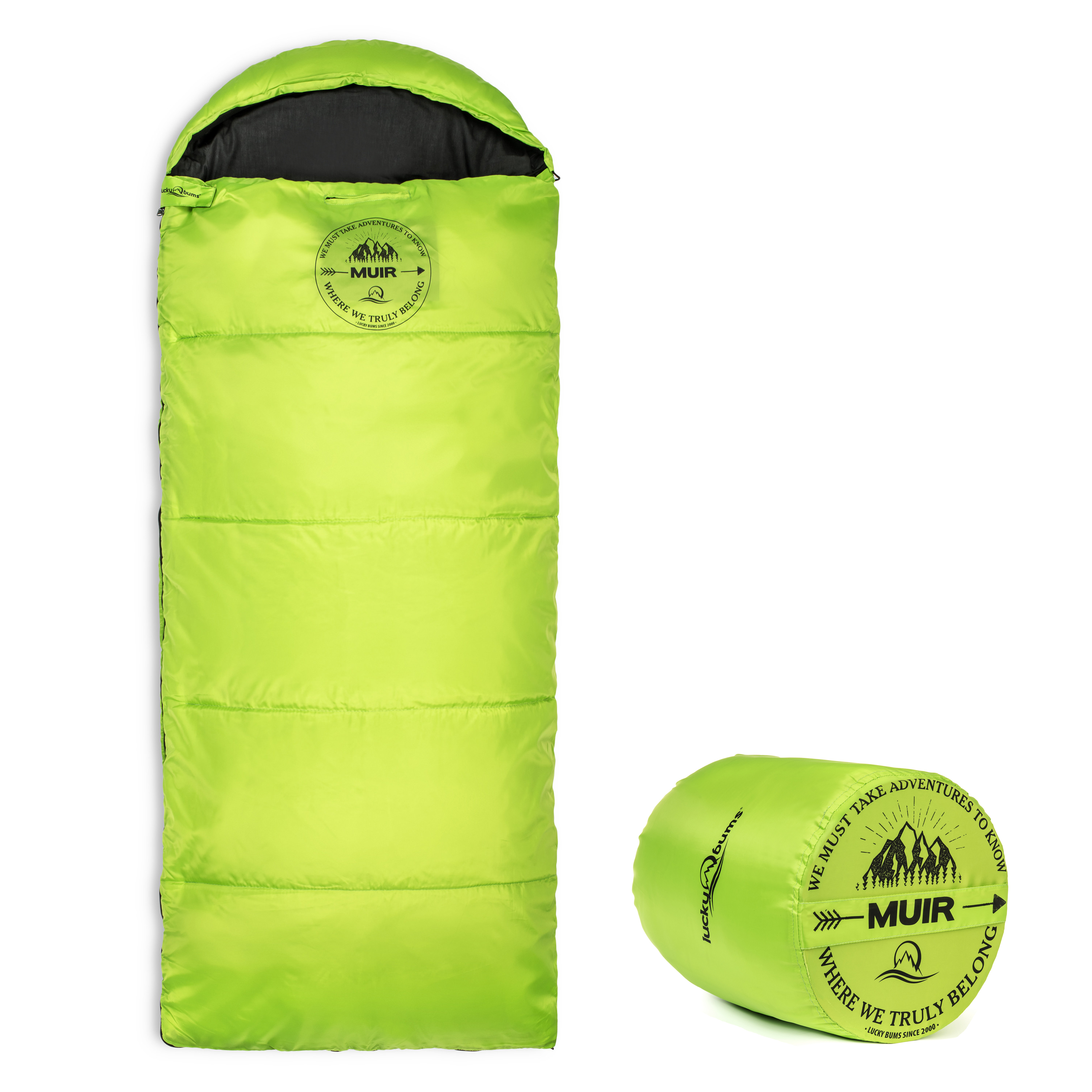 Lucky Bums Youth Muir Sleeping Bag 40°F/5°C with Digital Accessory Pocket and Carry Bag, Blue