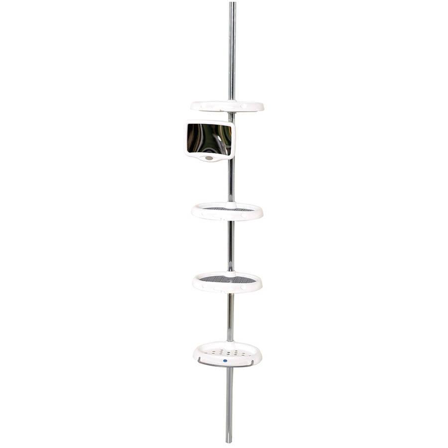 Zenna Home 5804B White and Chrome 4-Shelf Premium Pole Shower Caddy