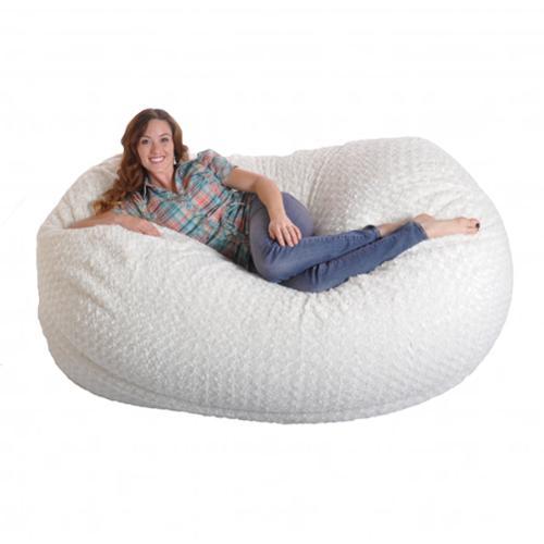 Slacker Sack 6-foot Soft White Fur Large Oval Microfiber Memory Foam Bean Bag Chair