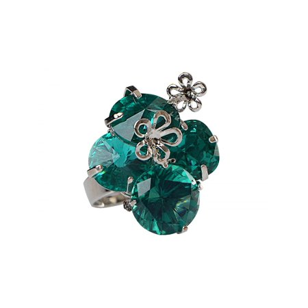 Womens Silver Tone Turquoise Green Crystal Rhinestone Cluster Floral Flower Adjustable - Silver Tone Crystal Cluster