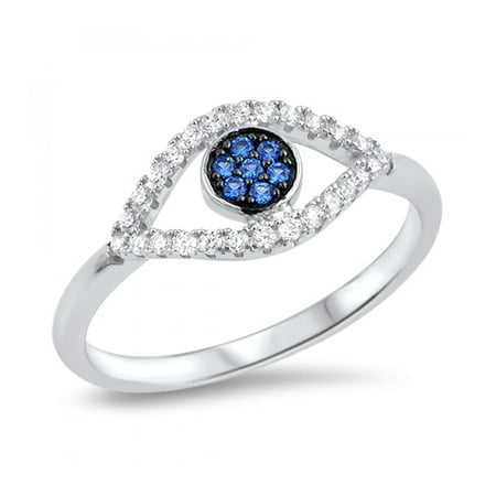 925 Sterling Silver Evil Eye Ring With Cubic Zirconia