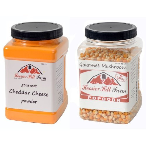 Hoosier Hill Farm Cheezy Popcorn Kit,(White Cheddar Cheese and Mushroom Style Popcorn) Net Weight 2.5lb