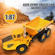 1:87 Scale Lorry Dump Truck Diecast Car Model Construction Vehicle Children Toys Boy Girl Party Birthday Gift 5x2x1.5in