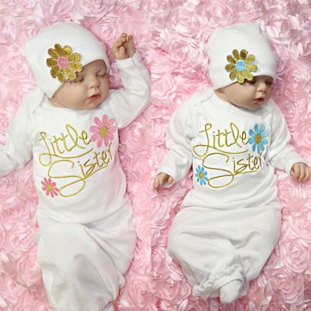 Take Home Outfit Flower Little Sister Baby Girl Gown Hat Infant Newborn Gift