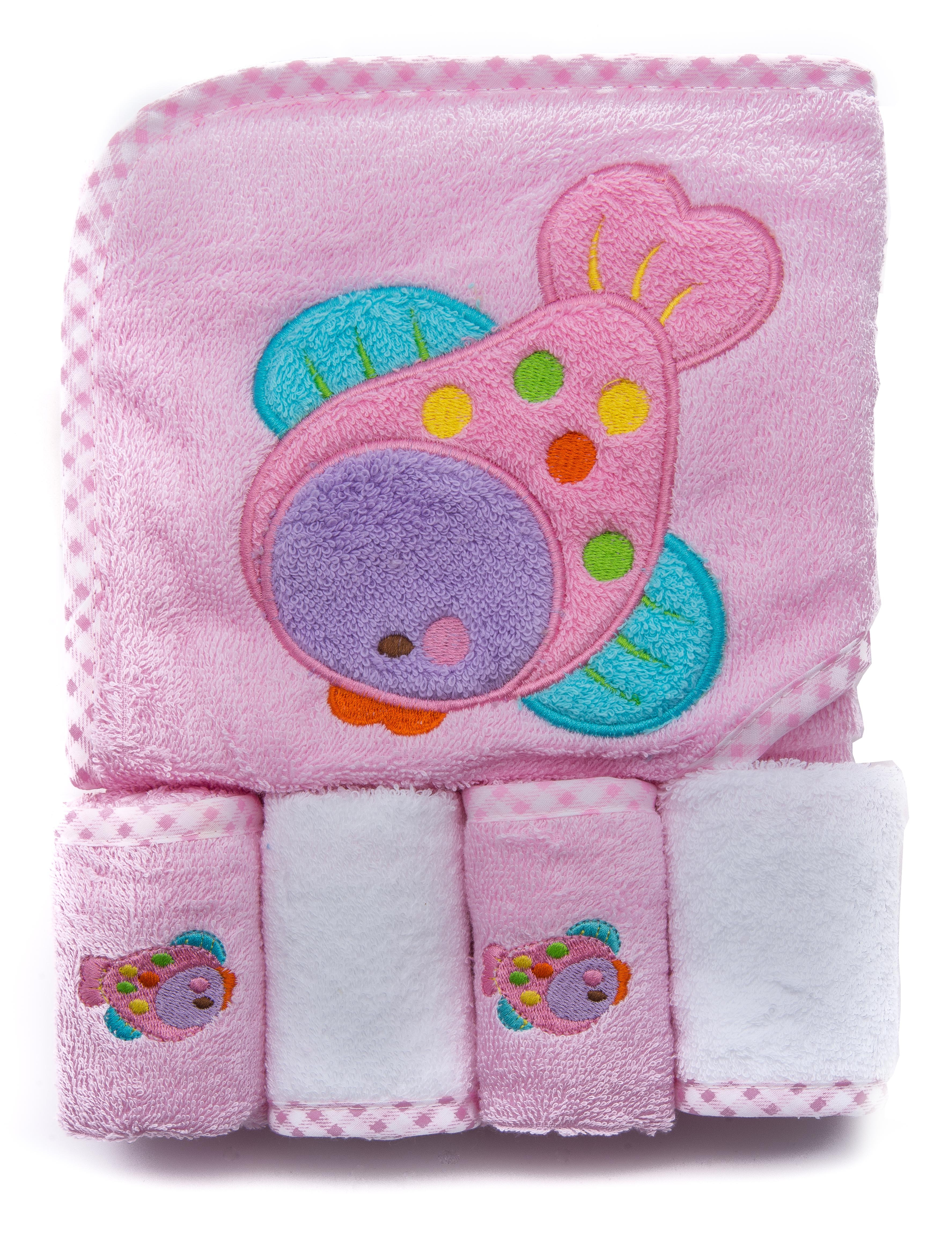 100% Cotton Baby Hooded Terry Bath Towel with 4 Washcloths, Pink by Ely's & Co. by Ely%27s %26 Co