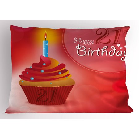 21st Birthday Pillow Sham Abstract Sun Beams Backdrop Party Delicious Cupcake with Frosting Image, Decorative Standard Queen Size Printed Pillowcase, 30 X 20 Inches, Red and Orange, by Ambesonne - Cupcake Queen