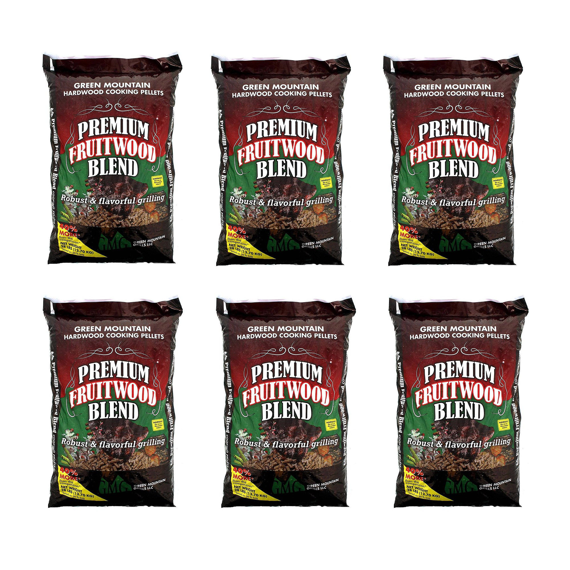 Green Mountain Premium Fruitwood Pure Hardwood Grilling Cooking Pellets (6 Pack)