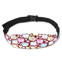 2-Pack Adjustable Safety Baby Kids Car Seat Neck Relief Head Support Belt, Brown Elephant