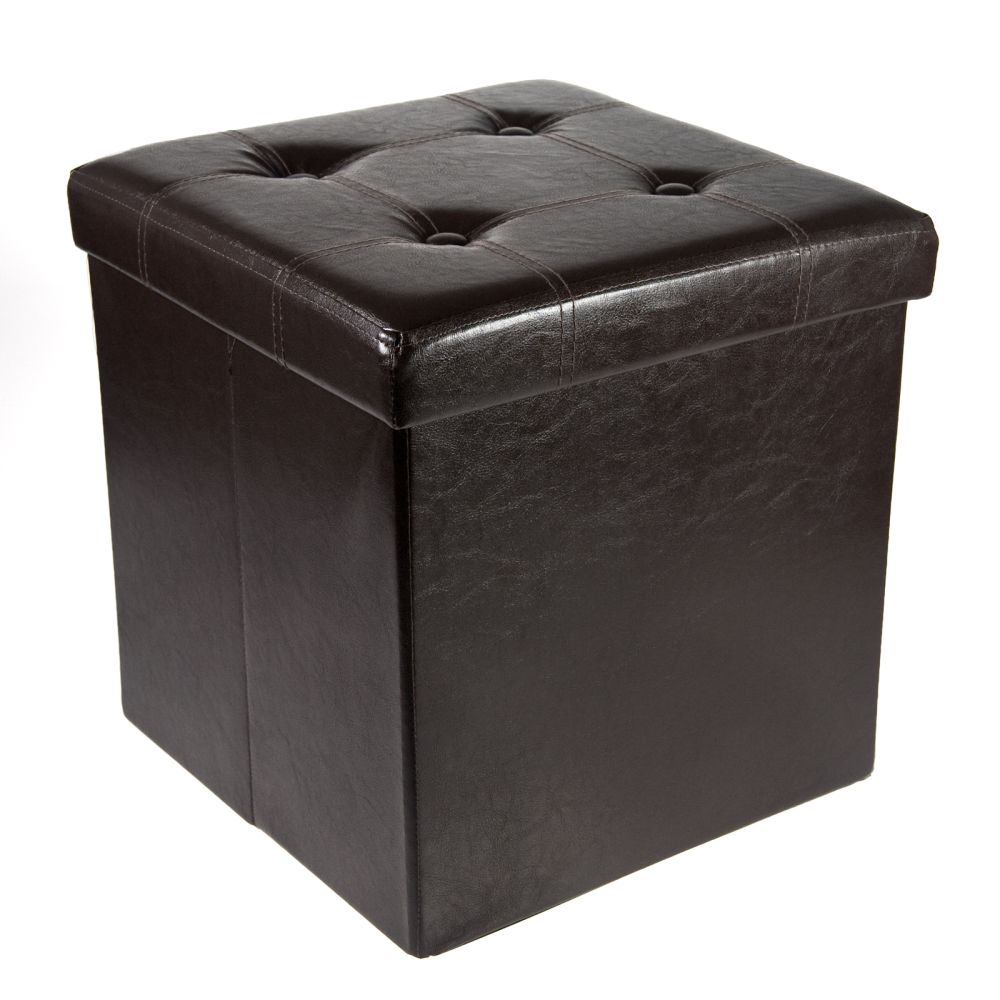 Storage Ottoman Faux Leather Collapsible Foldable Seat Foot Rest Coffee  Table - Walmart.com - Storage Ottoman Faux Leather Collapsible Foldable Seat Foot Rest