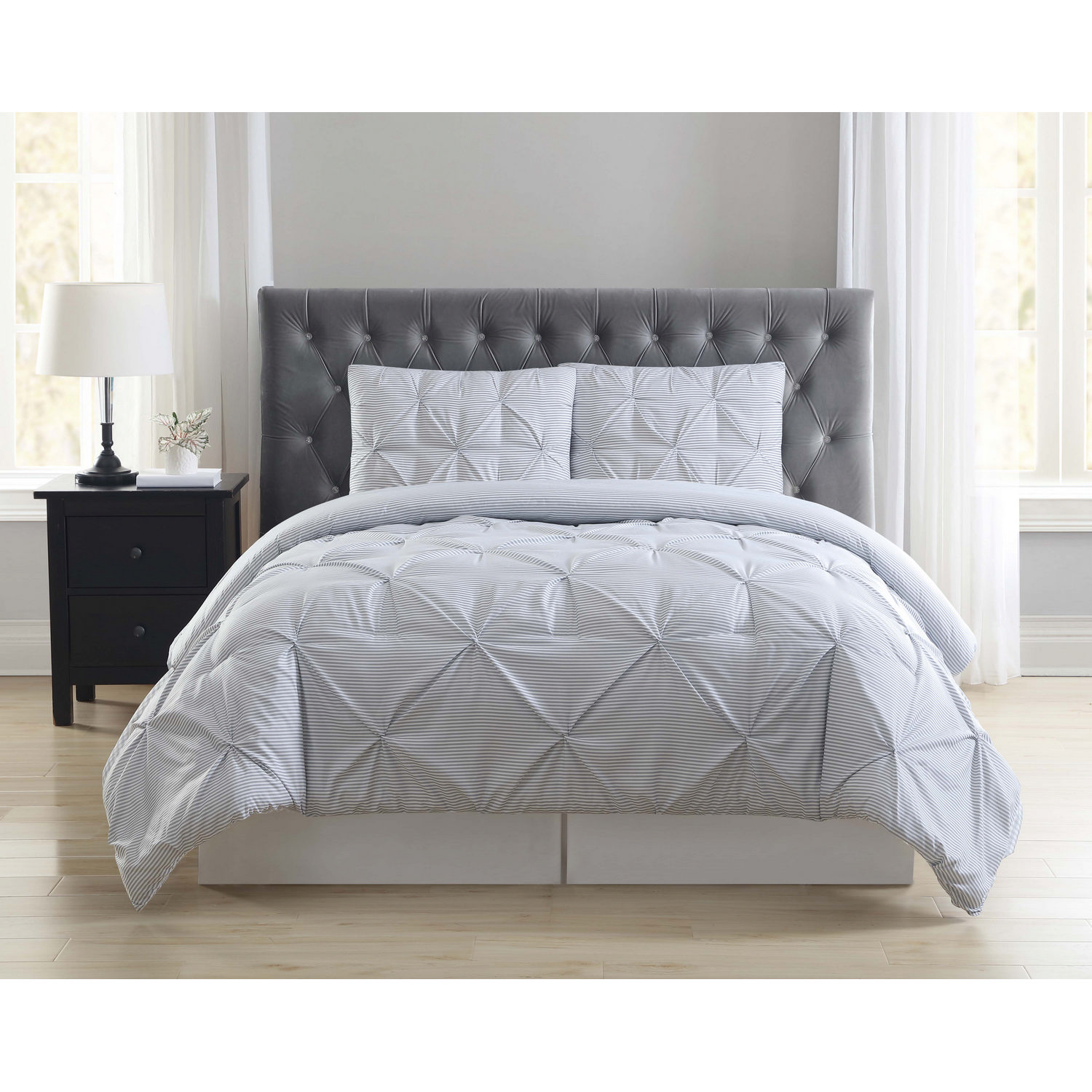 Truly Soft Everyday Stripe Pleat Grey Twin Extra Long Comforter Set