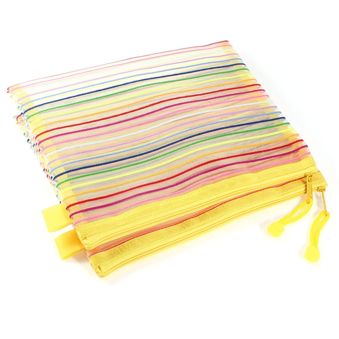 Unique Bargains 2 Pcs Nylon Zipper Colorful Striped Design Mesh A5 Paper File Documents Bags