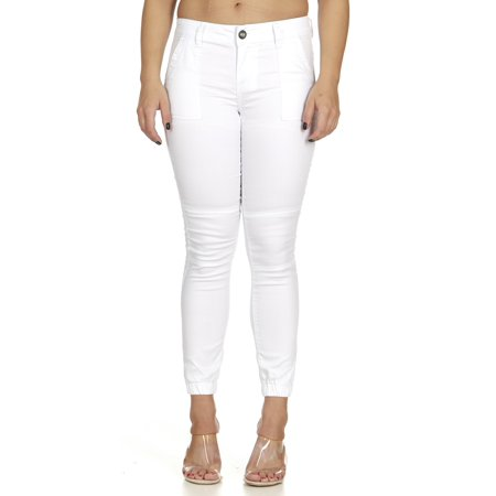 cover girl Women's Plus Size Cute Mid-Rise Jogger Skinny Fit Trouser Pocket Sport Active, White Party, 16 ()