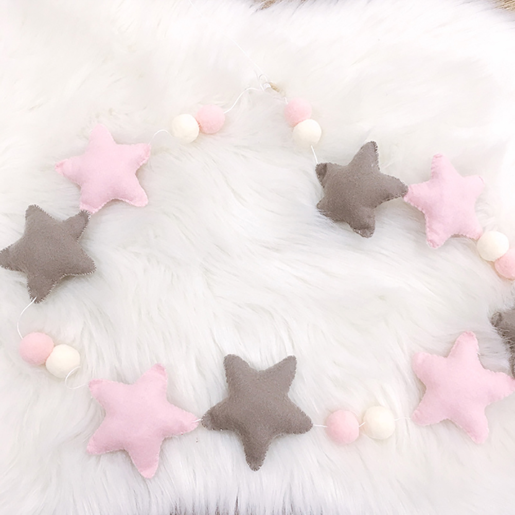 HiCoup Nordic Style Pom Pom Balls Stars Garland Nursery Kids Room Haning Decor Ornament