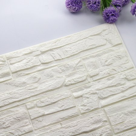DIY 3D Brick PE Foam Wallpaper Panels Room Decal Stone Decoration Embossed (Pink Pastel Wallpaper)