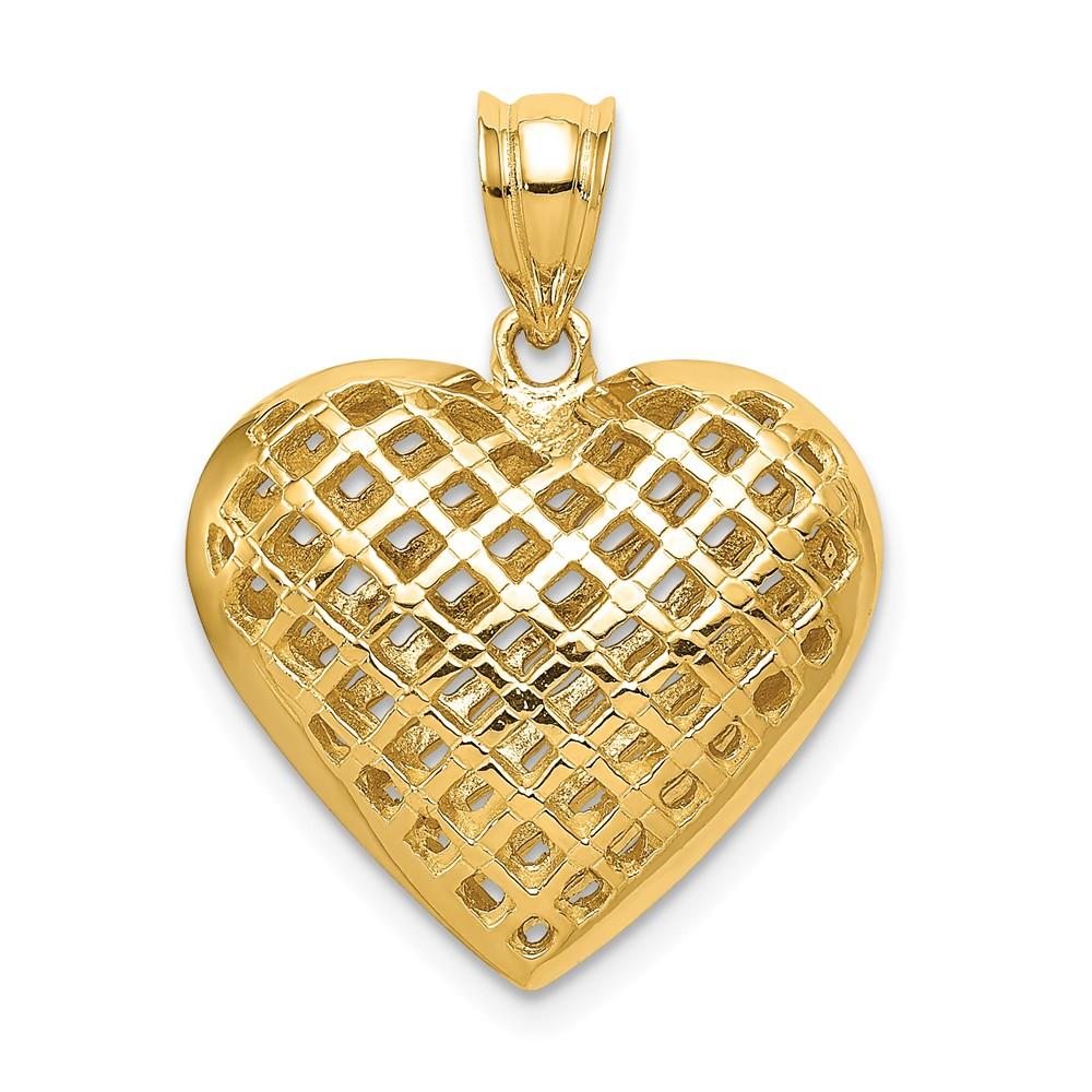 14k Yellow Gold Fancy Mesh Puffed Heart Charm Pendant