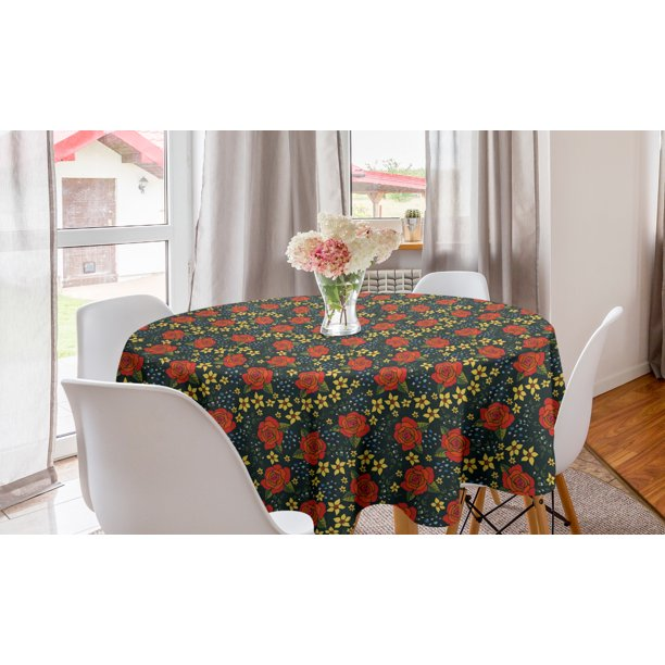 Floral Round Tablecloth Continuous Rose Flowers Pointed Petals Twigs Buds Illustration Circle Table Cloth Cover For Dining Room Kitchen Decor 60 Multicolor By Ambesonne Walmart Com Walmart Com