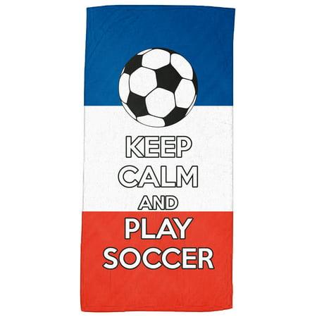 French Beach Towel - Keep Calm and Play Soccer - Soccer Fanatics' Beach Towel 30