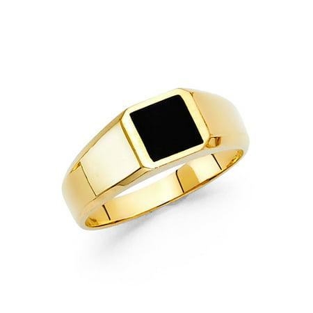 Solid 14k Yellow Gold Square Onyx Ring Mens Band Black Stylish Plain Design Polished Finish Fancy