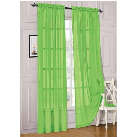 2pc Lime Green Solid Sheer Voile Window Curtain Set, Two (2) Rod Pocket Panels 55