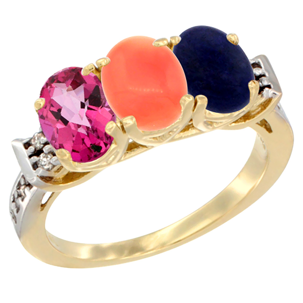 14K Yellow Gold Natural Pink Topaz, Coral & Lapis Ring 3-Stone Oval 7x5 mm Diamond Accent, sizes 5 10 by WorldJewels