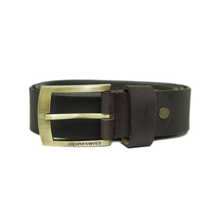 "Alpine Swiss Mens Leather Belt Slim 1 1/4"" Casual Jean Dakota Signature"