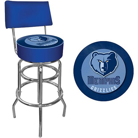 "Trademark NBA Memphis Grizzlies 40"" Padded Swivel Bar Stool with Back, Chrome by"