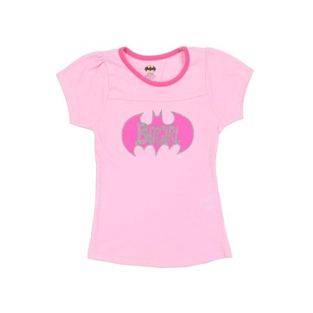 DC Comics Little Girls' Batgirl Glitter Logo Tee, Pink - Comic Con Girls