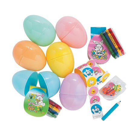 Fun Express - Pastel Stationery Filled Jumbo Eggs (2dz for Easter - Party Supplies - Pre - Filled Party Favors - Pre - Filled Plastic Containers - Easter - 24 Pieces - Pastel Party