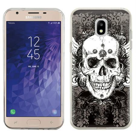 For Samsung Galaxy J3 Star / J3 Achieve / Express Prime 3 / J3 (2018) Case, OneToughShield ® TPU Gel Protective Slim-Fit Phone Case - Grunge Skull
