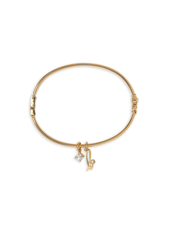 Goldtone and Crystal Initial Bracelet