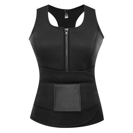 c2ebd903c8 Camellias Womens Neoprene Sweat Sauna Suit Waist Trainer Vest with  Adjustable Waist Trimmer Belt for Weight Loss Workout Body Shaper Black