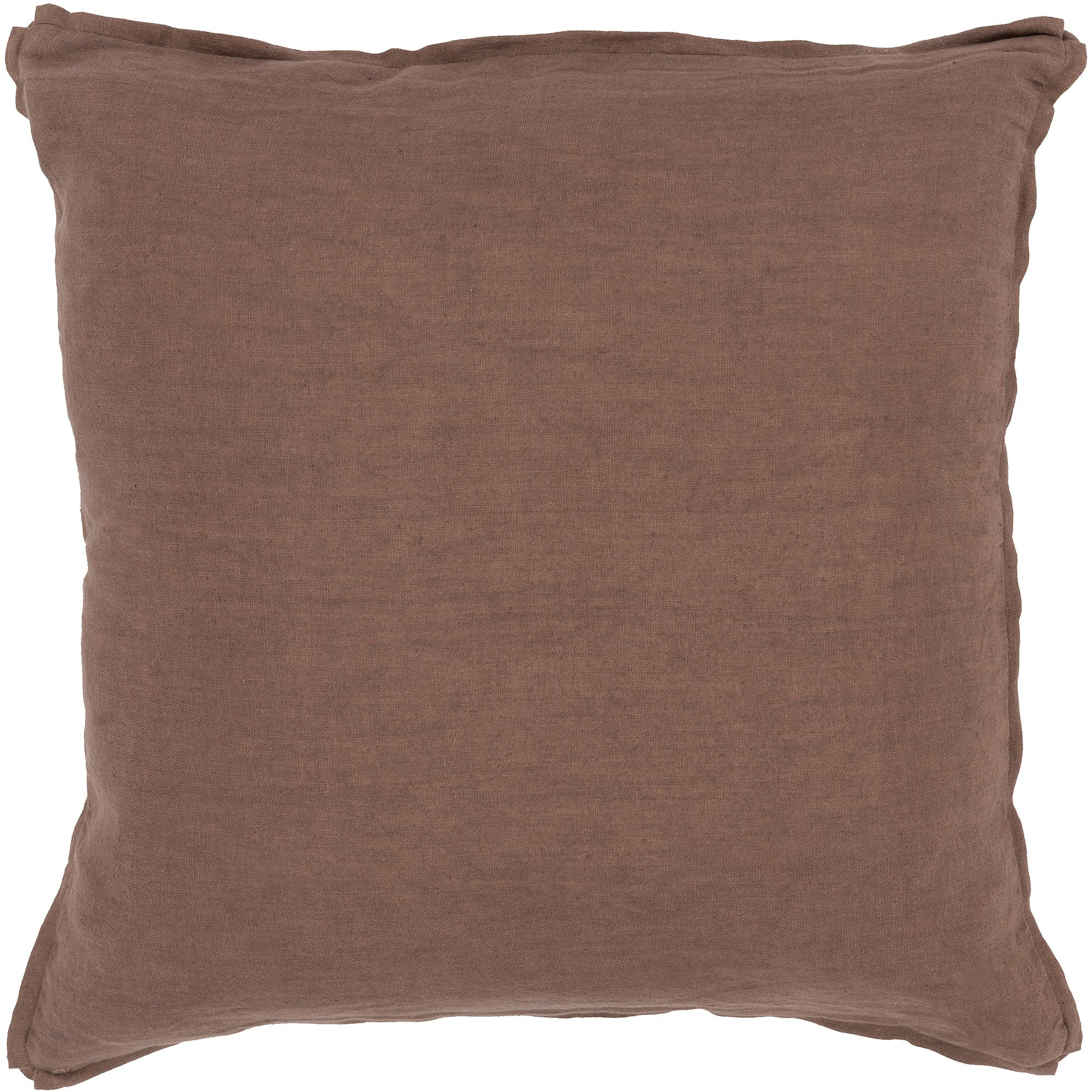"""Art of Knot Luxe Hand Crafted Linen Fancy Flange Decorative Pillow with Poly Filler, 18"""" x 18"""", Beige"""