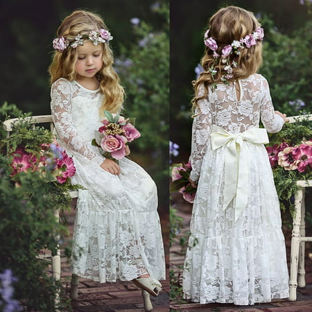 Fancy Lace Flower Girl Dress Long Sleeves Princess Communion Dresses for 2-13T