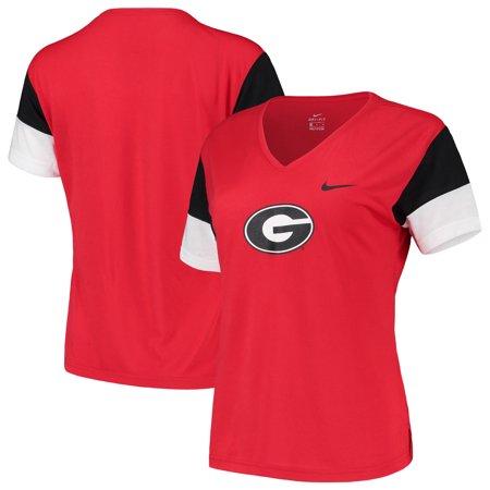 Georgia Bulldogs Nike Women's Breathe Team Sleeve Performance V-Neck T-Shirt -