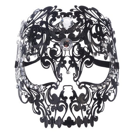 Coxeer Skull Masquerade Mask Christmas Metal Mask with Rhinestones for Women