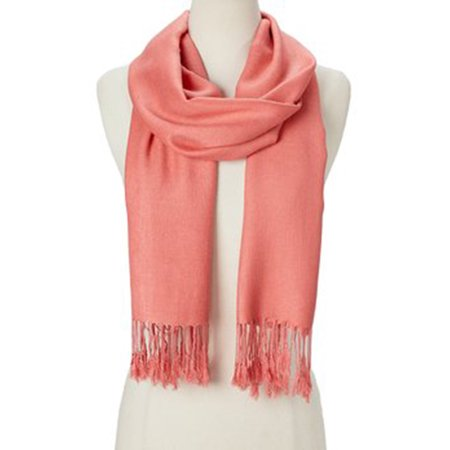 Cotton Neck Scarf (Rose Cloud Solid Scarfs for Women Fashion Warm Neck Womens Winter Scarves Casual Pashmina Silk Blend Scarf Wrap with Fringes for Ladies Girls by Oussum )