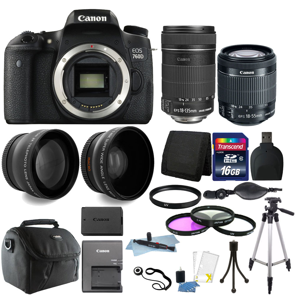 Canon EOS Rebel 760D/T6s 24.2MP D-SLR Camera with EF-S 18...