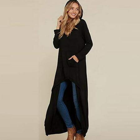 Roseonmyhand Women Sleeve High Low Hooded Casual Long Maxi Tunic Tops