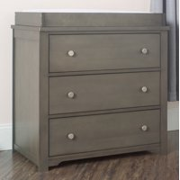Forever Eclectic Harmony 3-Drawer Dresser with Table Topper Kit, Dapper Gray
