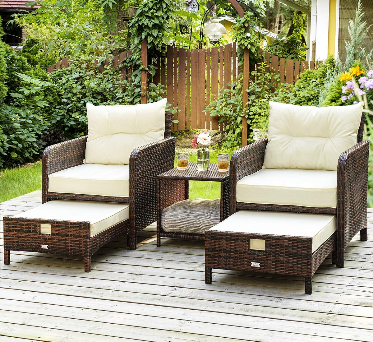 PAMAPIC 5 Pieces Wicker Patio Furniture Set Outdoor Patio Chairs