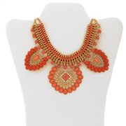 """Gold-Tone Coral Cord Statement Necklace, 18"""" with 3"""" Extender"""