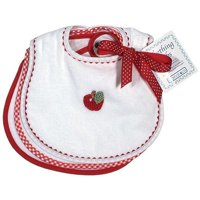 Unisex Baby Primary Teething Bib Set, White/Red
