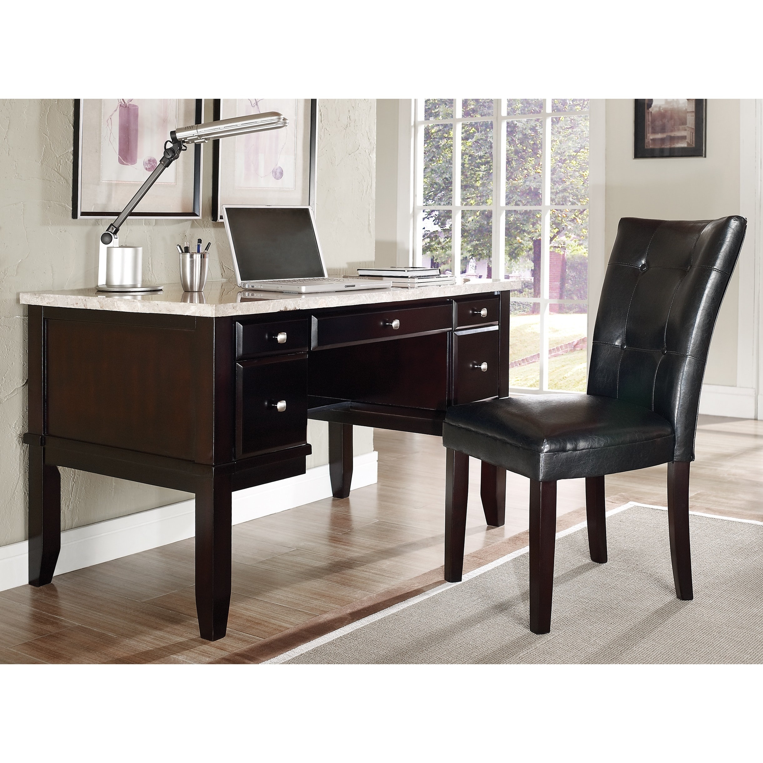 Greyson Living Malone White Marble Top Desk Set by